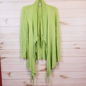 Chico's green fringe open front cardigan size 1/M